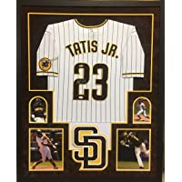 $399 » Fernando Tatis Jr San Diego Padres Autograph Signed Custom Framed Authentic Jersey White Pin Stripe Suede Matted 4 Picture JSA Signature…