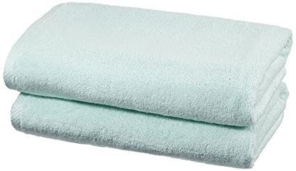 AmazonBasics - Juego de 2 toallas de secado rápido, 2 toallas de baño - Azul