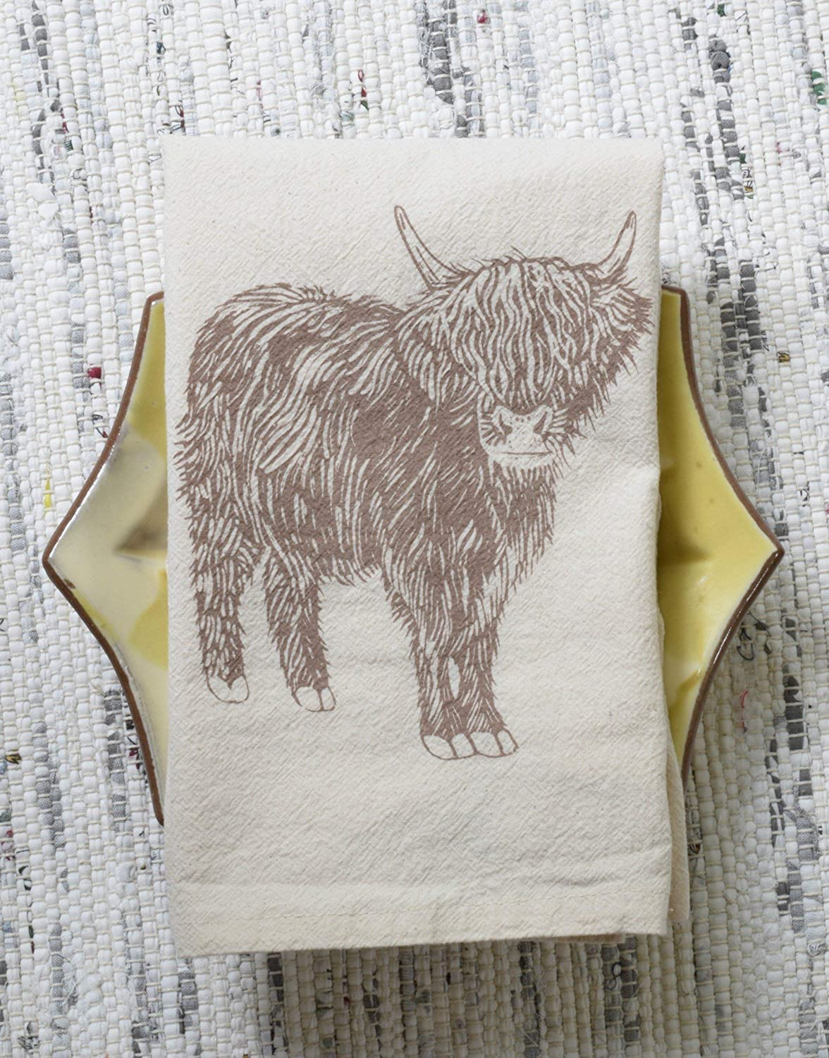 Cloth Napkins - Set of 4 - Cow Design in Mocha Brown - Organic Cotton - Scottish Highland