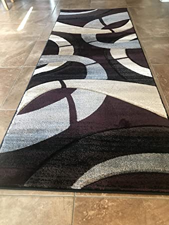 Amazoncom Sculpture Modern Runner Area Rug Burgundy Blue Brown