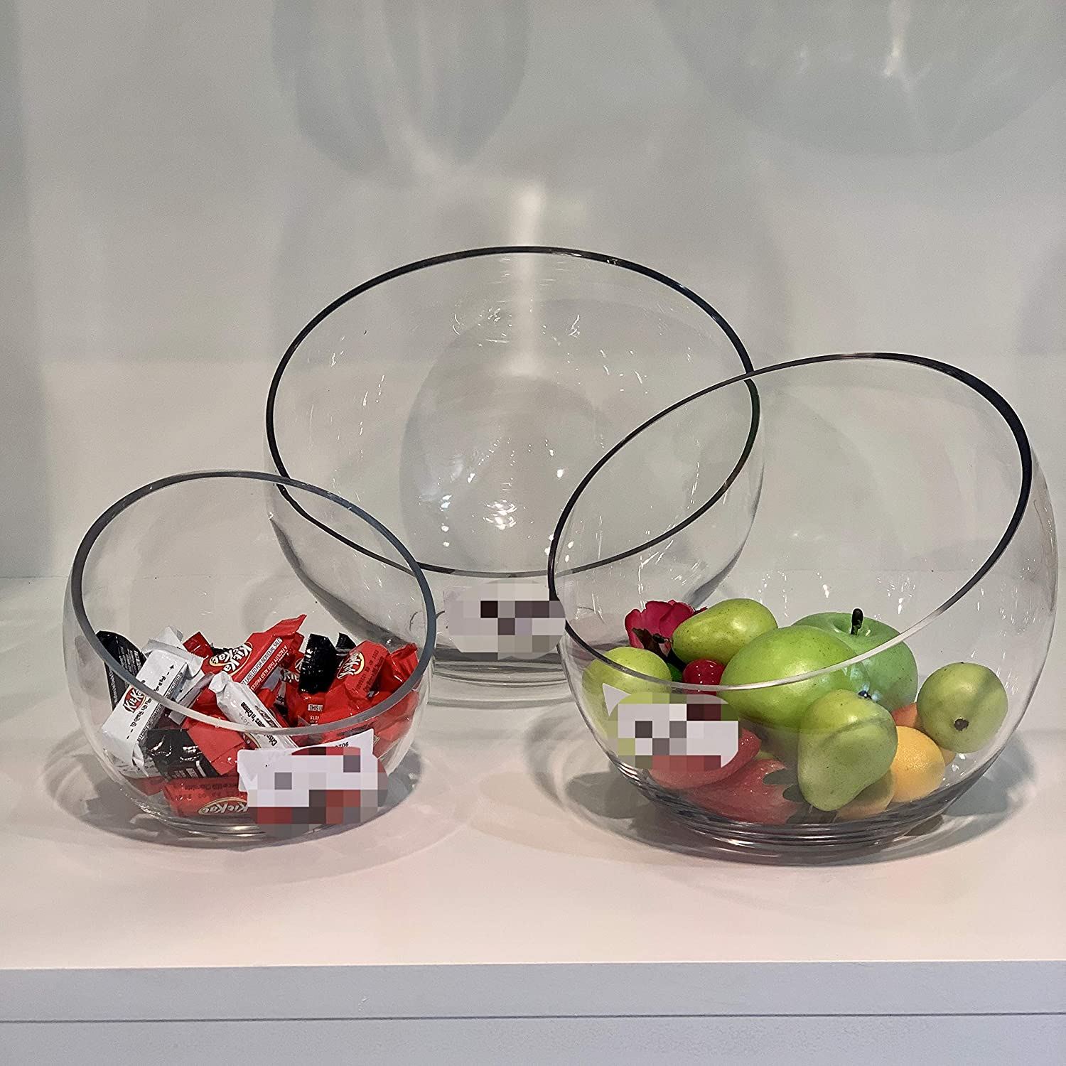 Height 5.5 Candy Dish Fruit Jar Floral Container for Wedding Party Event WGV Slant Cut Bowl Glass Vase Clear Terrarium Diameter 5.7 Open 3.3 1 Piece Home Office Decor