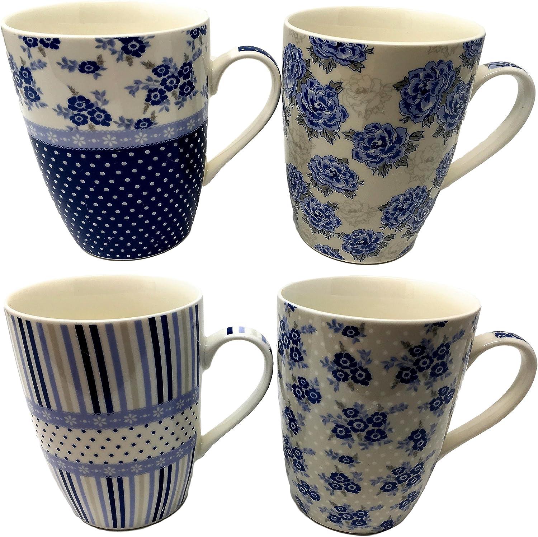 Juego de 4 tazas de porcelana fina - Variados diseños