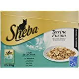 Sheba Terrine Fusion Cat Food Pouches, 12 x 85 g - Fish Selection in Terrine, Pack of 4 (48 Pouches)