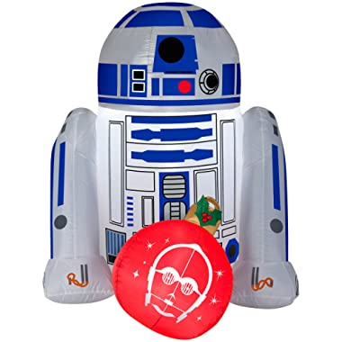 Gemmy Star Wars R2D2 4FT Christmas Inflatable Outdoor Yard Decoration -Lights Up with LED - Easy Set-Up -Self Inflating