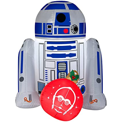 gemmy star wars r2d2 4ft christmas inflatable outdoor yard decoration lights up with led - Star Wars Blow Up Christmas Decorations