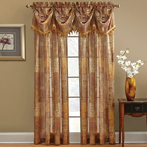 Chapel Hill by Croscill Madagascar Sheer Federal Valance, Spice, 84 x 12