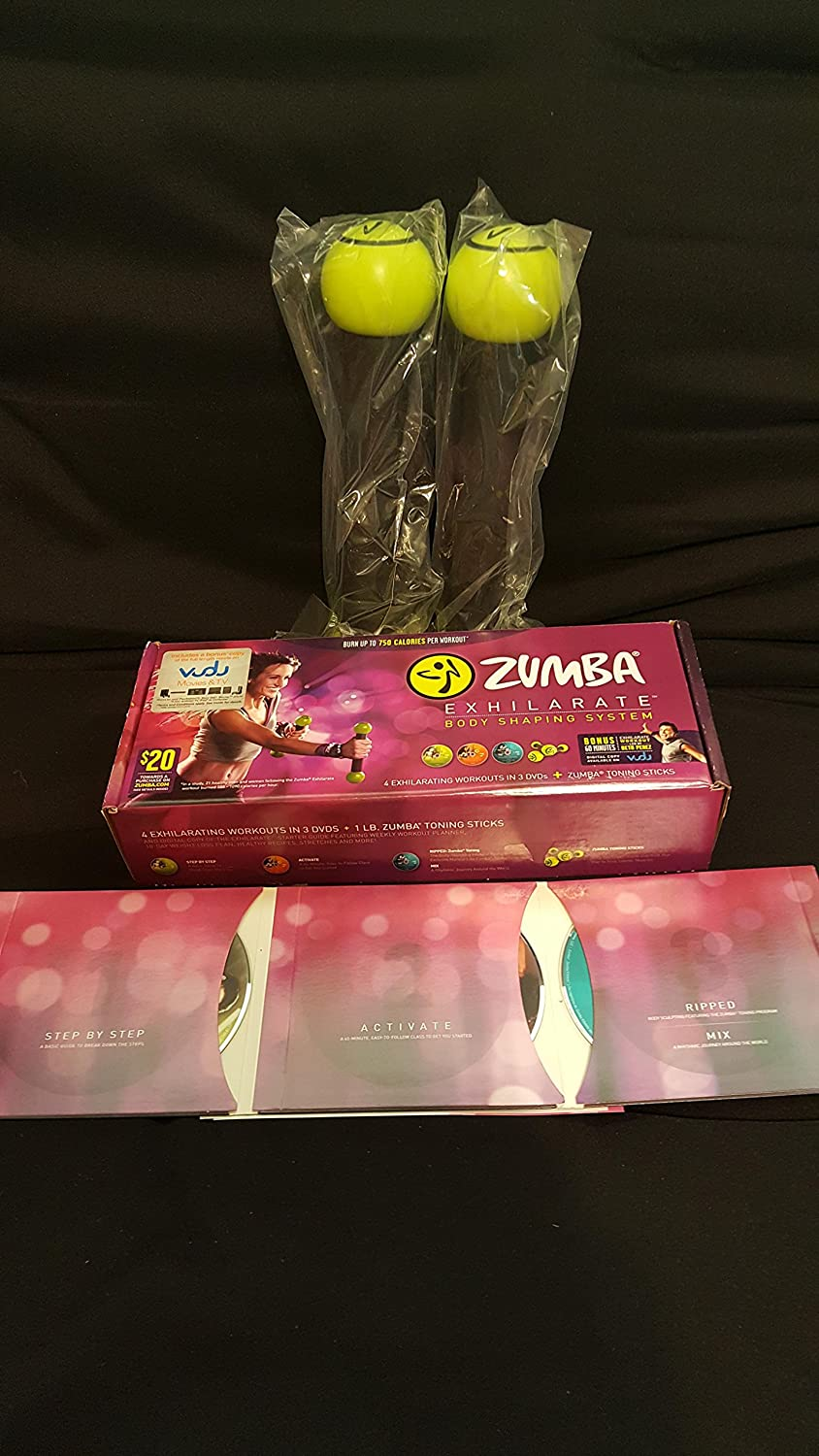 Amazon.com : Zumba Fitness Exhilarate Body Shaping System DVD Set + Toning  Sticks : Sports & Outdoors
