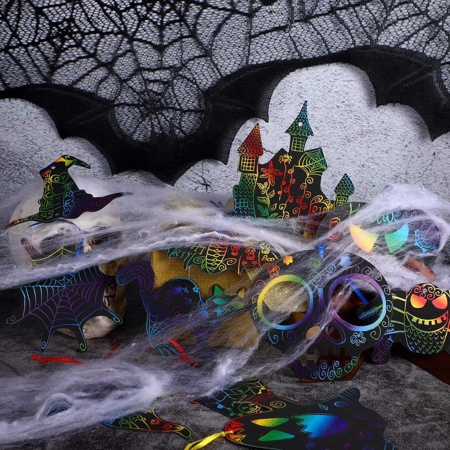 72 Pieces Halloween Scratch Paper Rainbow Scratch Art Scratch Off Paper with 12 Pieces Wooden Styluses and 72 Pieces Mixed Color Bands for Halloween Party Decorations