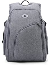 ECOSUSI Diaper Bag Backpack Fully-opened Baby Diaper Bags Mom Bag with Changing Pad, Stroller Straps for Baby Care, Gray