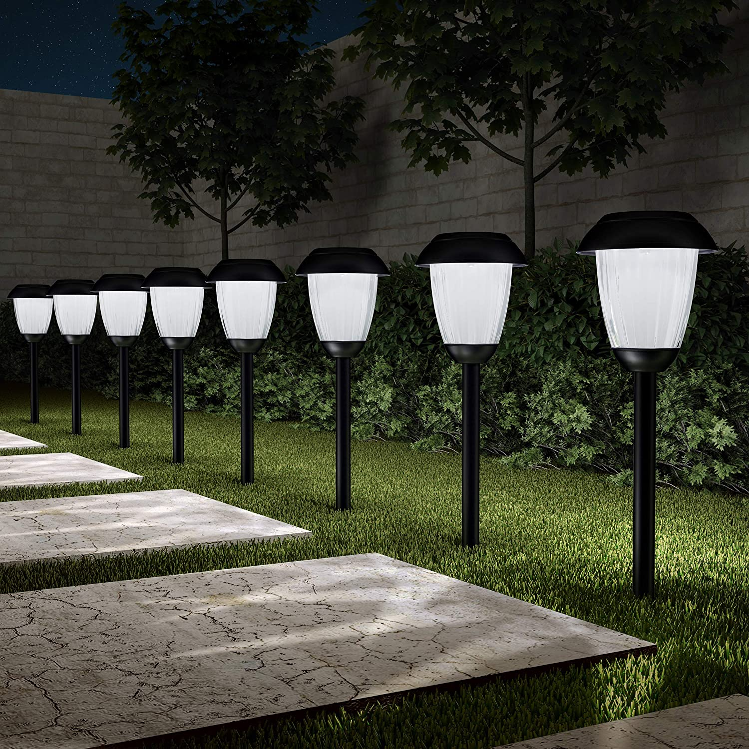"""Pure Garden 50-LG1058 Solar Path, Set of 8-16"""" Tall Stainless Steel Outdoor Stake Lighting for Garden, Landscape, Yard, Driveway, Walkway, Black"""