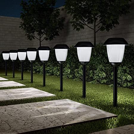 """Set 10/"""" Solar LED Garden Pathway Lights Stakes Stainless Steel Driveway Walkway"""