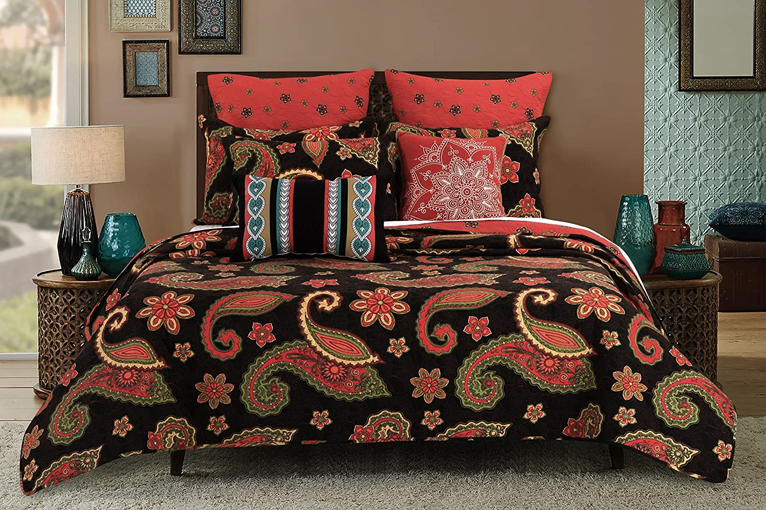 GL-1604AMSK 3-Piece Midnight Paisley Multi Colored King Size Quilt Set