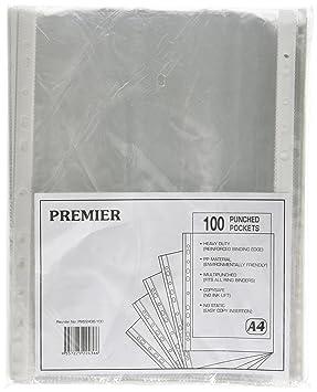 Whitebox - Funda de plástico con agujeros para archivador de anillas (A4, 100 unidades), transparente: Amazon.es: Oficina y papelería