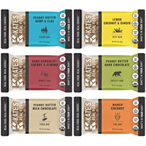 Kate's Real Food Organic Energy Bars, Non-GMO, All-Natural Ingredients, Gluten-Free and Soy-Free Healthy Snack with Natural Flavors (Pack of 12)