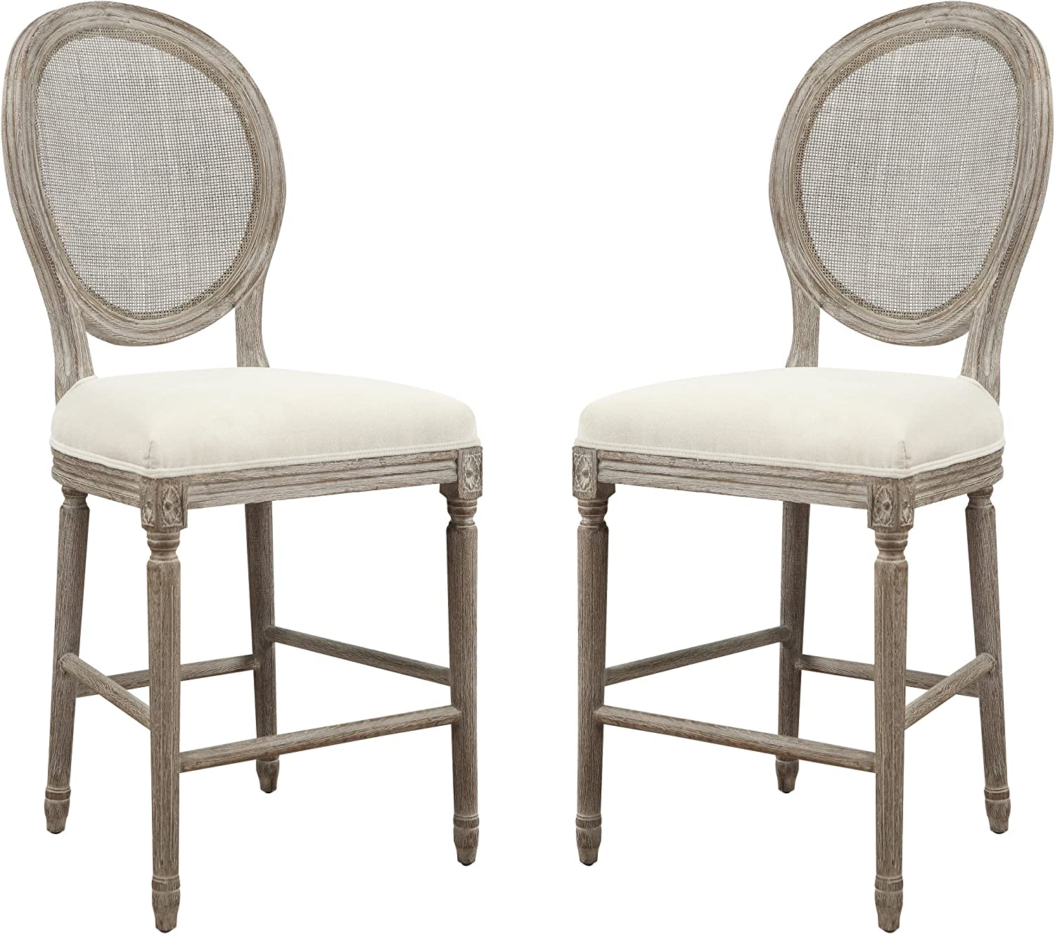 Emerald Home Salerno Sand Gray 24 Bar Stool with Upholstered Seat, Carved Legs, And Rattan Back, Set of Two