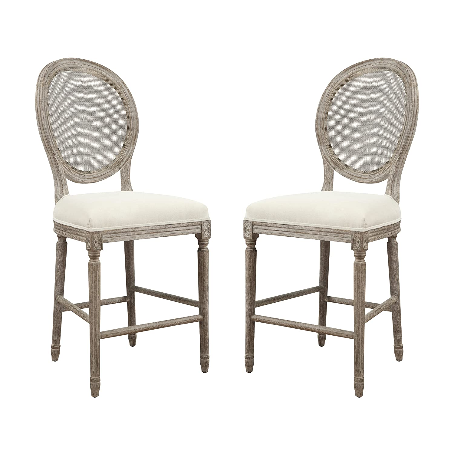 Amazon com emerald home salerno sand gray 24 bar stool with upholstered seat carved legs and rattan back set of two kitchen dining
