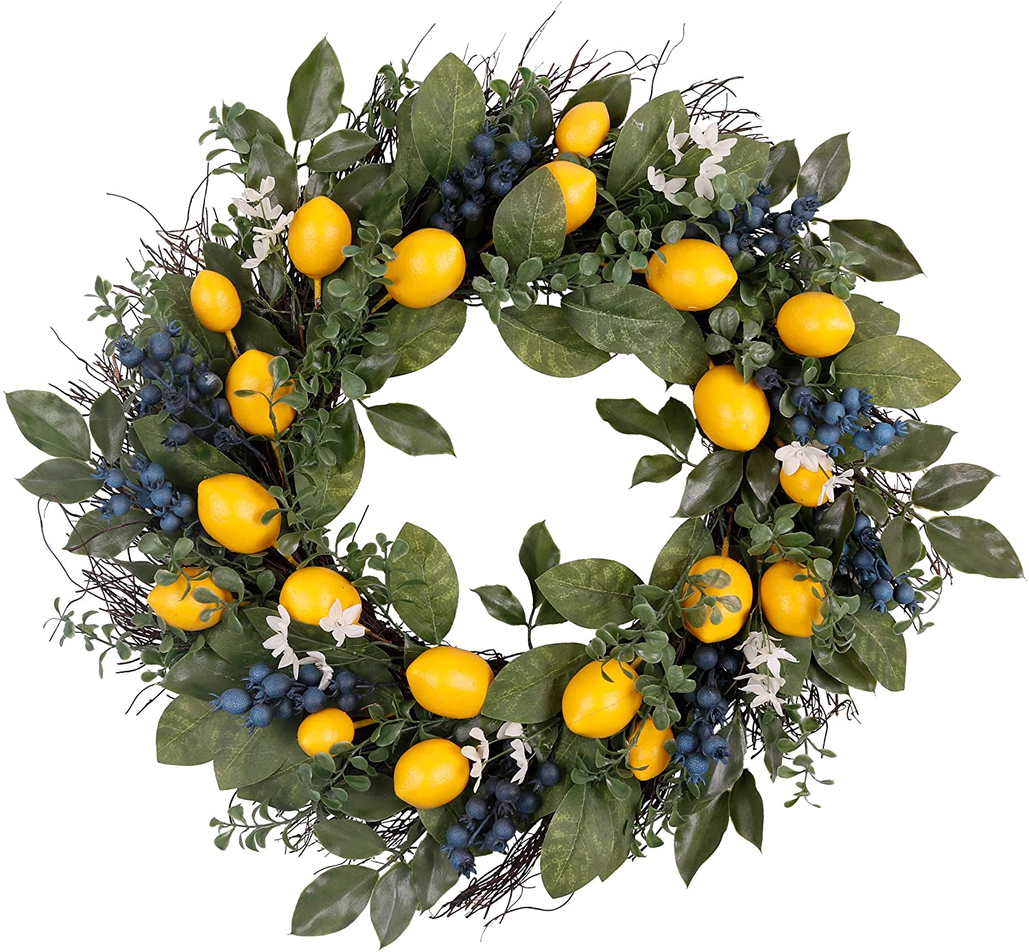 Valery Madelyn 24 Inch Spring Fruit Wreath with Artificial Yellow Lemons, Blueberry and Green Leaves, Fall Autumn Summer Wreath for Front Door and Home Decoration