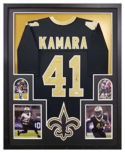 40846cf3 Alvin Kamara New Orleans Saints Signed Autograph Custom FRAMED Black Custom Jersey  JSA Witnessed Certified at Amazon's Sports Collectibles Store