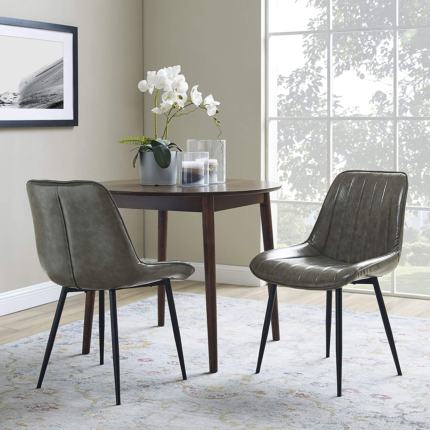 Amazon Com Volans Dining Chairs Modern Mid Century Retro Armless Leather Upholstered Side Chair With Metal Legs For Kitchen Dining Room Living Room Bedroom Desk Grey Set Of 2 Chairs