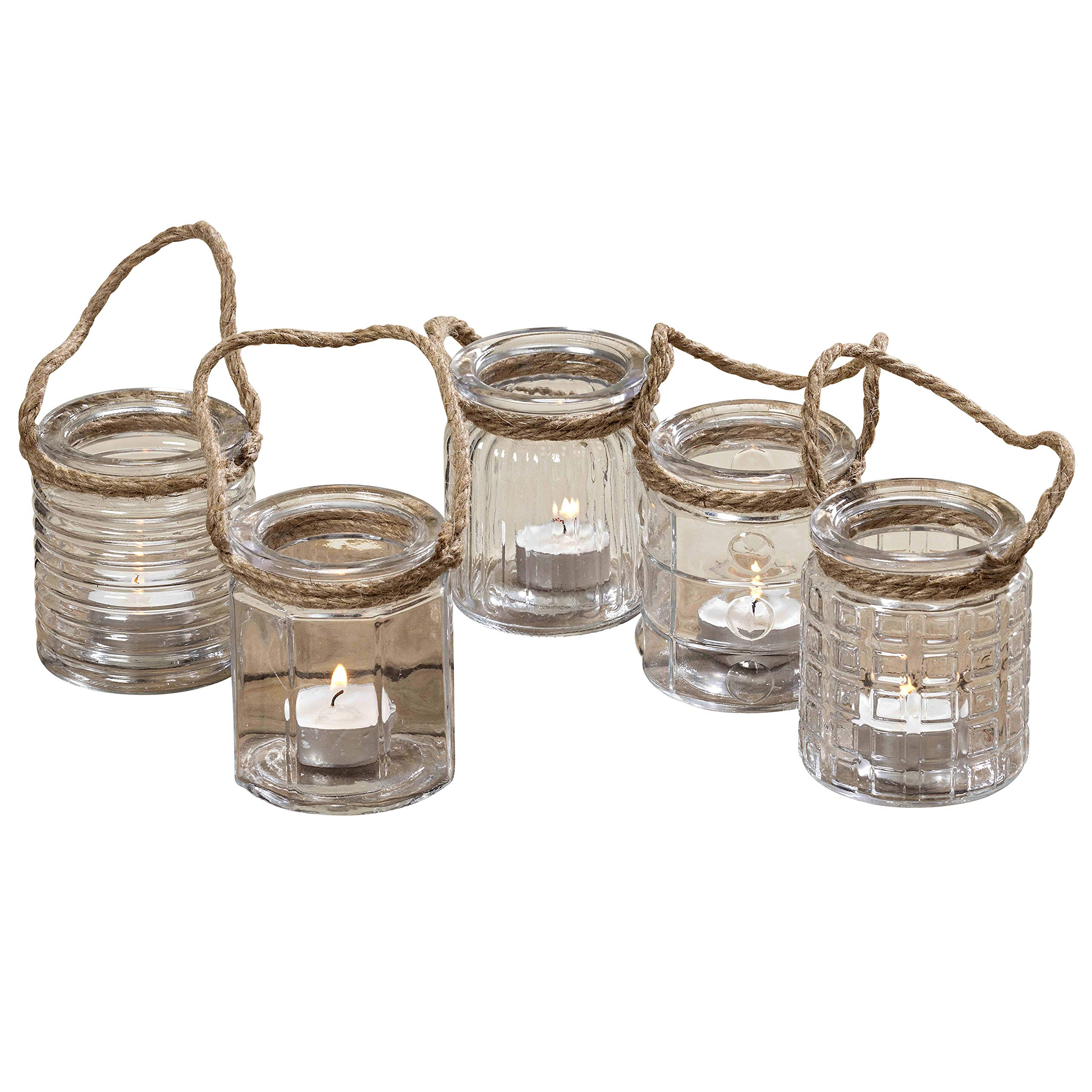 The Beach Chic Nautical Rope Hurricane Lamps, Case Pack with 40 Pieces,Clear Glass Candle Holder, for LED or Wax Votive, Pillar or Tealights, Wind Light, 2 ¾ x 2 ¾ x 3 ½ Inches, Glass, By WHW by Whole House Worlds