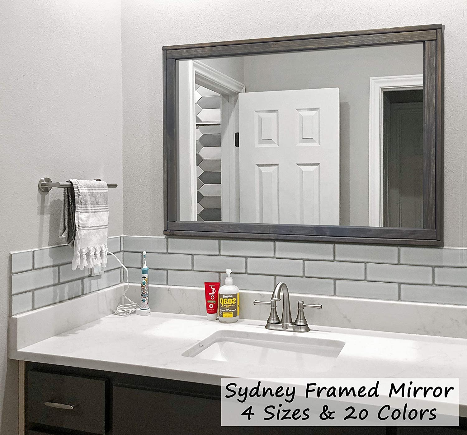 Amazon.com: Sydney Rustic Mirror - Vanity Mirror, Bathroom ...