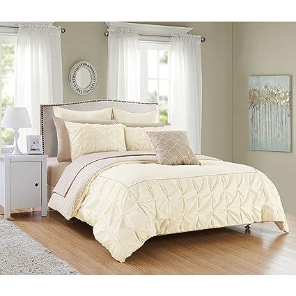 Amazon.com: PH 10 Piece Queen Beige/Off-White Comforter Set ...