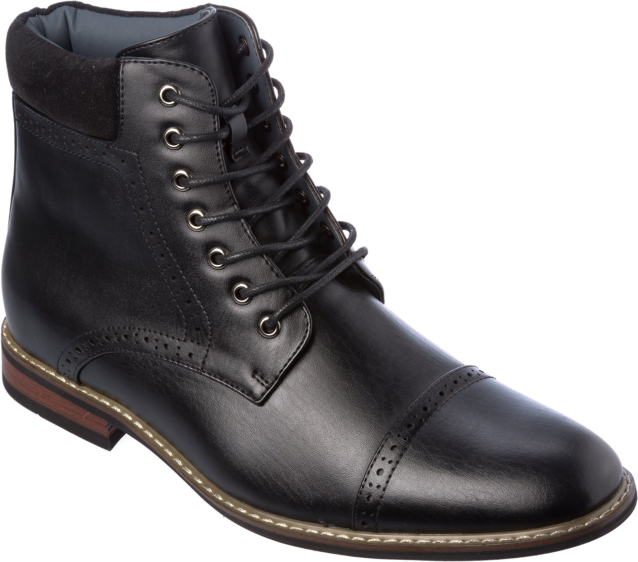 ottawa04 Mens Western Style Cow-Boy Boots PU-Leather Black Dress-Shoes Size 10.5