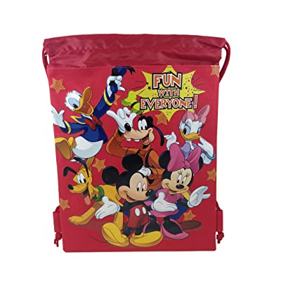Disney Mickey & Freinds Drawstring String Backpack School Sport Gym Tote Bag: Clothing