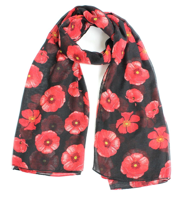 joy to wear ladies poppy flower print fashion scarf amazon co uk