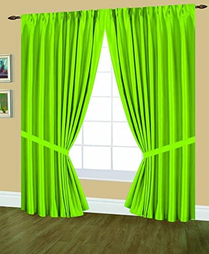 Editex Home Textiles Elaine Lined Pinch Pleated Window Curtain, 144 by 84-Inch, Neon Lime