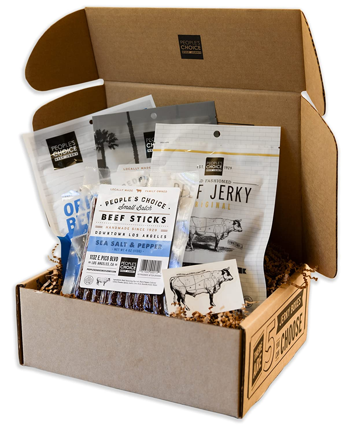 People's Choice Beef Jerky - Jerky Box - Simple & Savory - Meat Snack Sampler Gift Basket