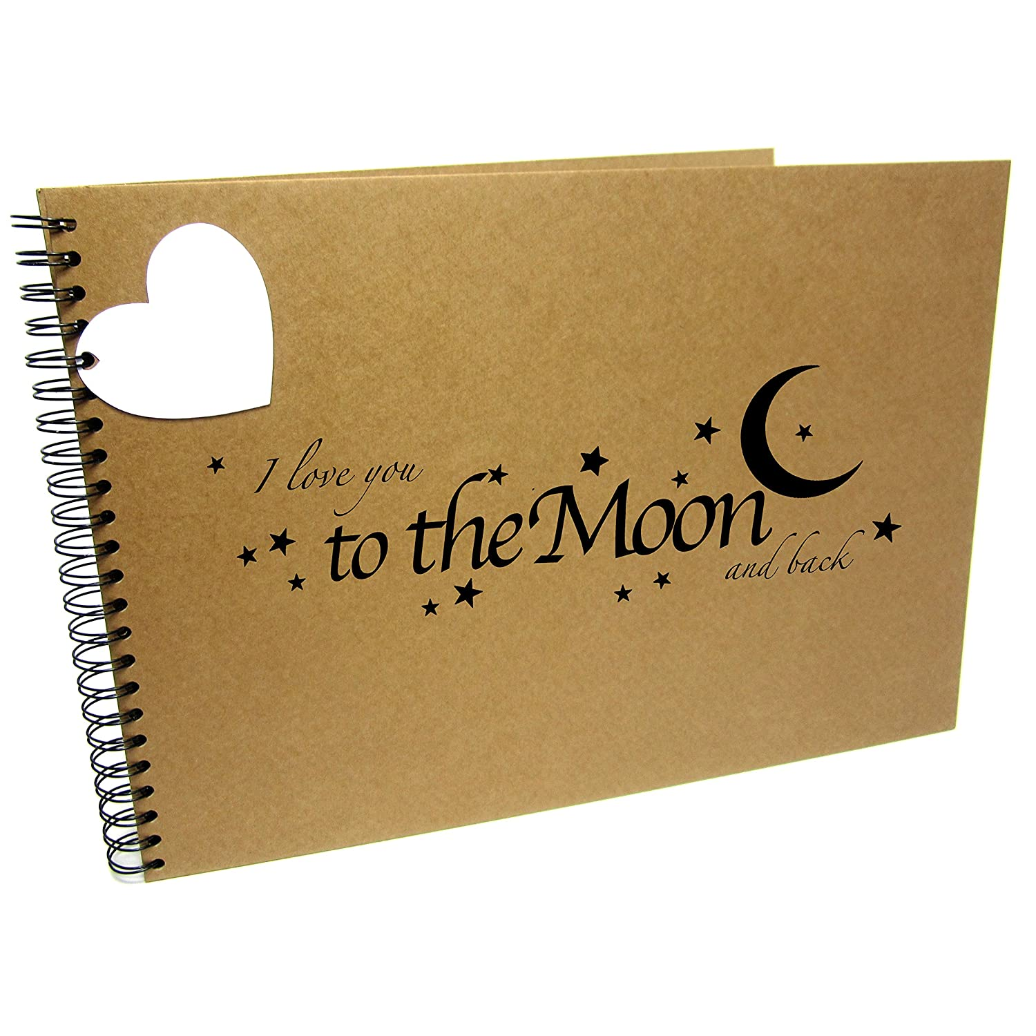 A3/XL Square Moon and Back, Scrapbook, Card Pages, Photo Album, Keepsake, Landscape (A3 (Black Pages)) Scrapbook Wonderland