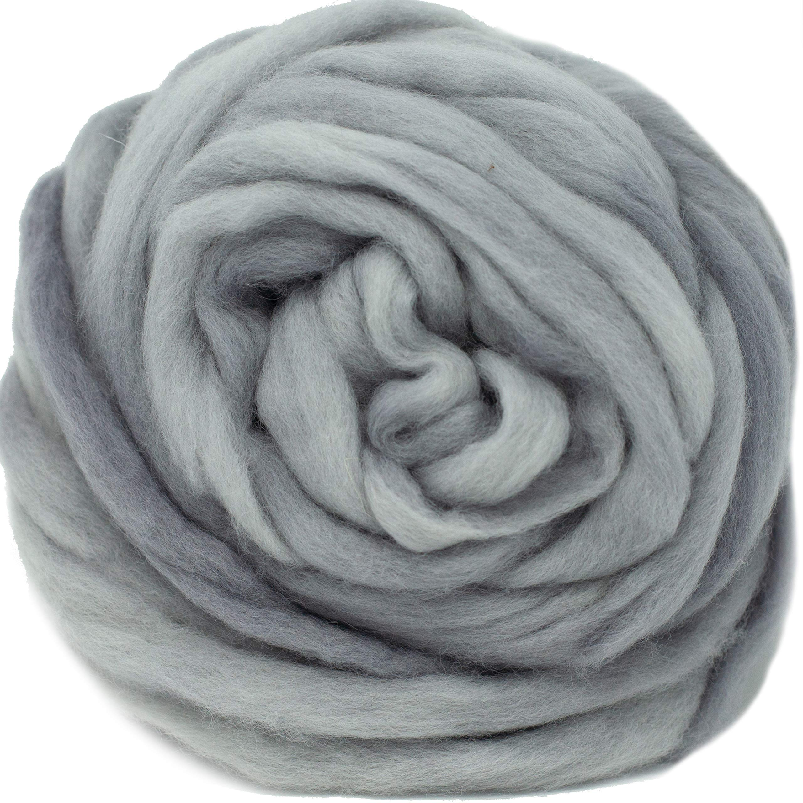Wool Roving Hand Dyed. Super Soft BFL Combed Top Pre-Drafted for Easy Hand Spinning. Artisanal Craft Fiber ideal for Felting, Weaving, Wall Hangings and Embellishments. 4 Ounce. Silver by Living Dreams Yarn