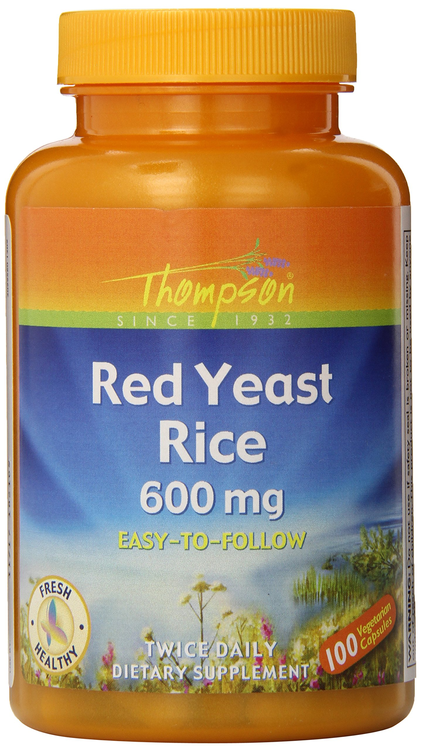 Thompson Red Yeast Rice Veg Capsules, 100 Count  (Pack of 6)