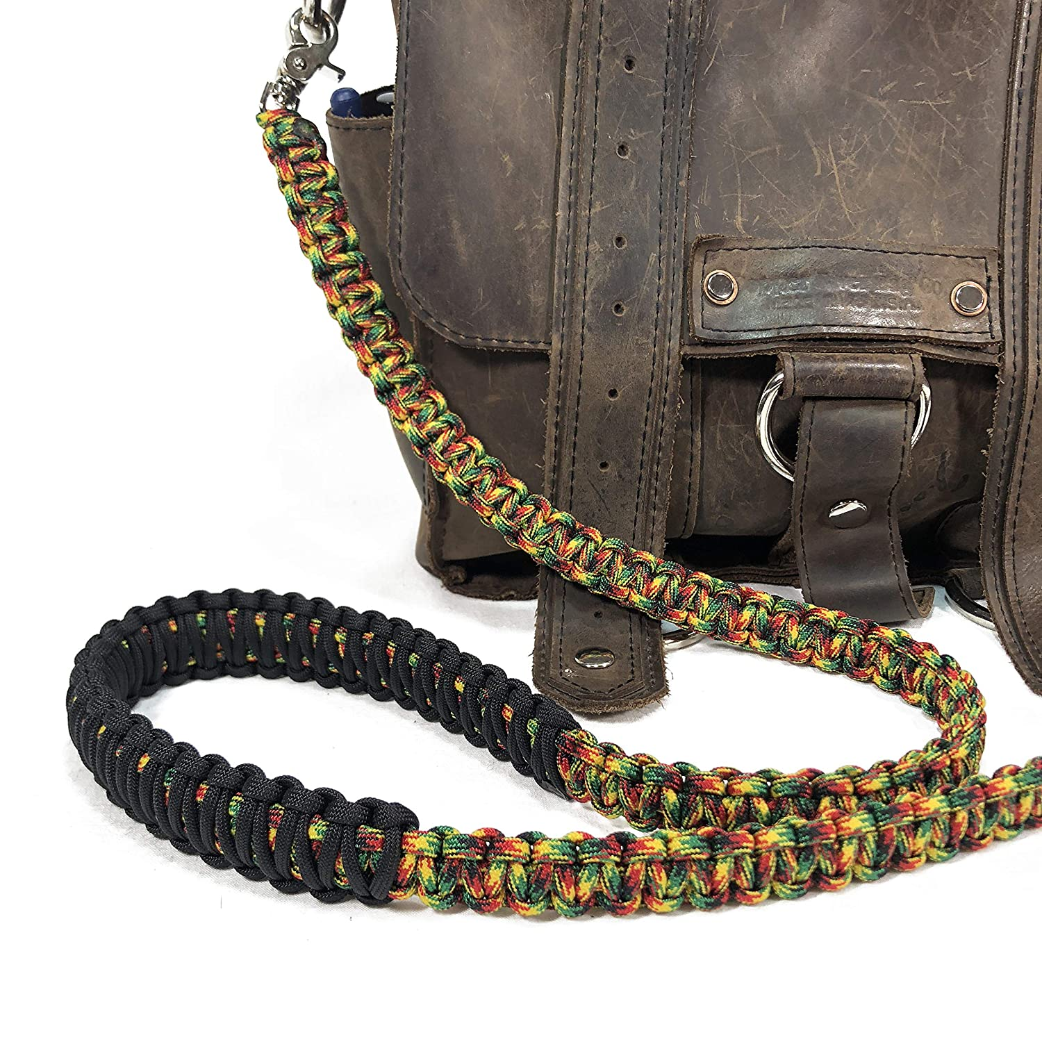 Jamaican Pattern Paracord 44 inch Cross Body Shoulder Strap Satchel Strap Lunch Bag Duffel Bag Handbag
