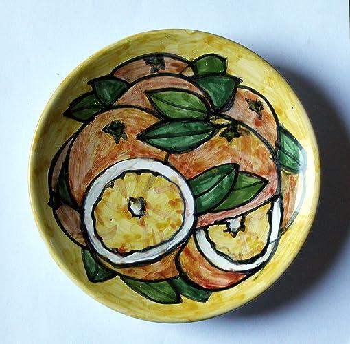 ab1f178ece76 Naranjas-Plato de cerámica decorado a mano, diámetro 16 cm de alto ...