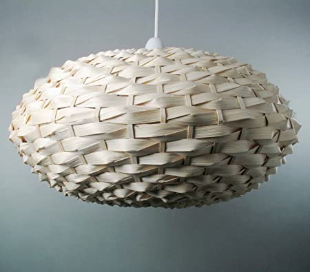 Natural Bamboo Weave Oval Ball Ceiling Light Shade Easy Fit Pendant