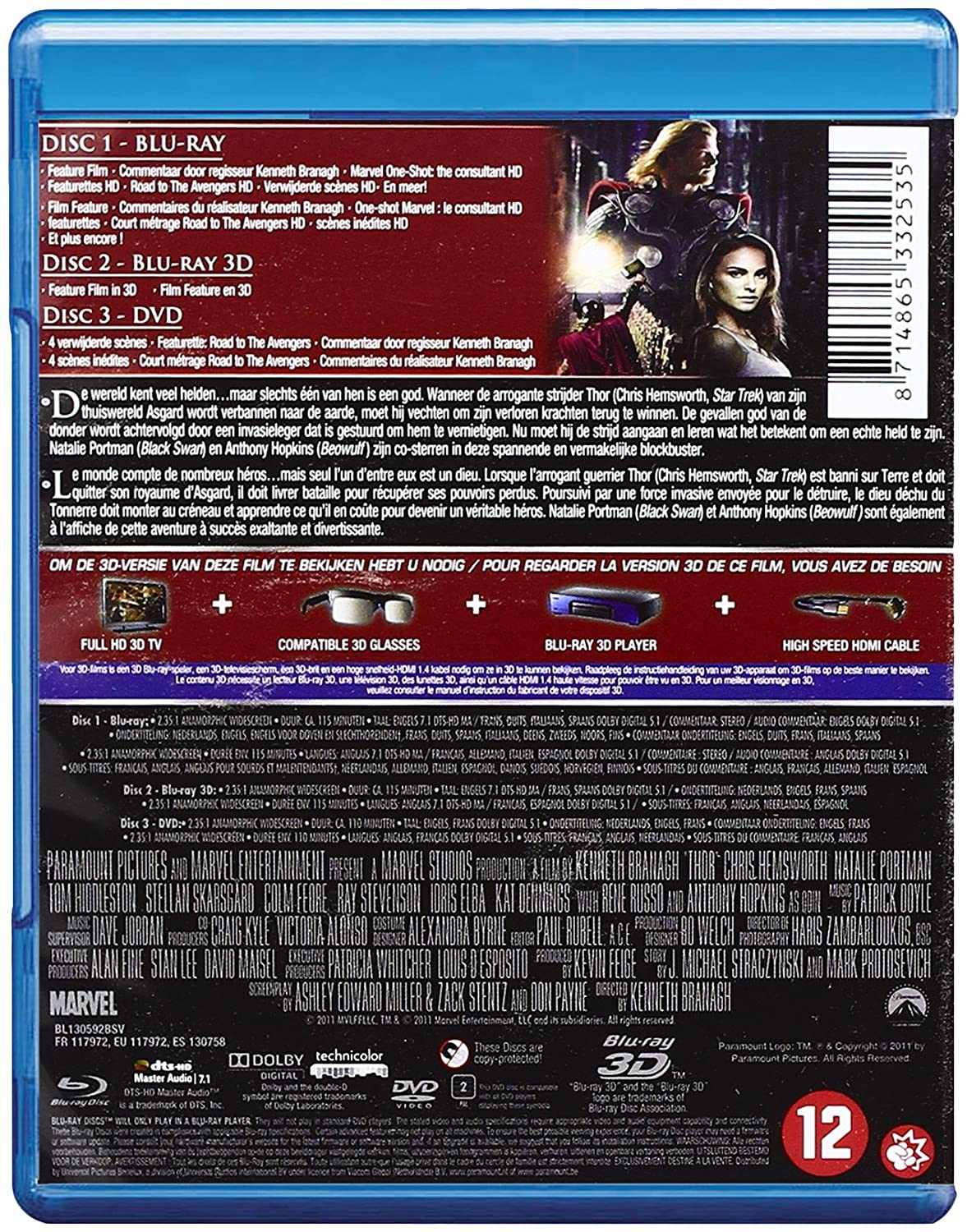 Thor - Combo Blu-ray 3D + Blu-ray 2D + DVD: Amazon.es: Cine y Series TV