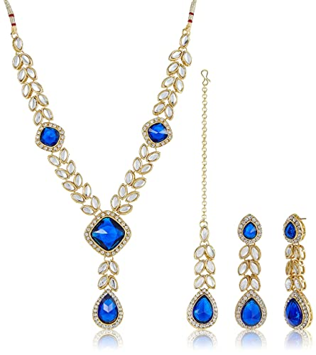 8c71fc7455 Buy Shining Diva Traditional Kundan Necklace Set/Jewellery Set with Maang  Tikka & Earrings for Women (Blue) (8028s)(8028s) Online at Low Prices in  India ...
