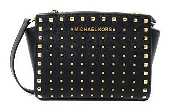 9fc00f9308241f Amazon.com: Michael Kors Selma Stud Mini Saffiano Leather Crossbody ...