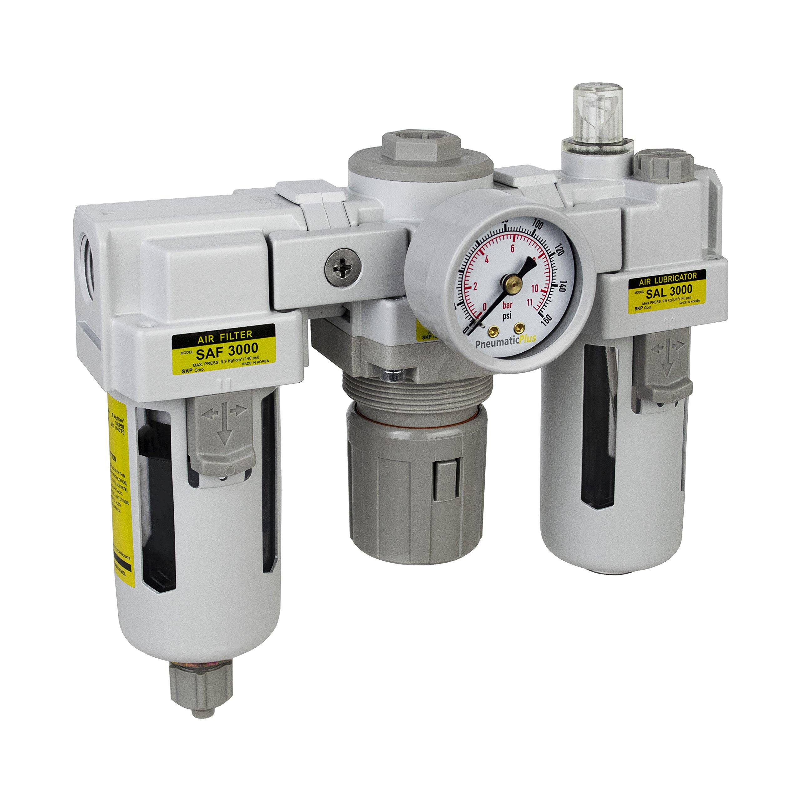 PneumaticPlus SAU3000M-N03G 3 Unit Combo Compressed Air Filter Regulator Lubricator, 3/8'' Pipe Size, NPT-Manual Drain, Poly Bowl, 10 μm with Gauge by PneumaticPlus