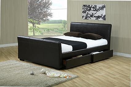 5 m marrón piel cajones de almacenamiento KINGSIZE marco de la cama y 1200 cuenta colchón