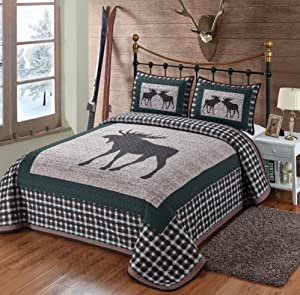 Moose Plaid Quilt 3 Pieces Queen Quilt Set, Quilt with 2 Pillow Shams, Rustic Lodge Cabin Mountain Style Bedding