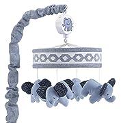 Lambs & Ivy Indigo Elephant Musical Mobile, Blue/White