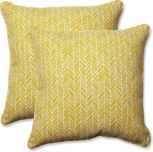 Pillow Perfect Outdoor Indoor Herringbone Egg Yolk Throw Pillows, 16.5 x 16.5 , Yellow, 2 Pack