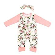 Newborn Baby Girl Clothes Floral Long Sleeve Footless Romper Jumpsuit Cotton 3-6 Month Pink