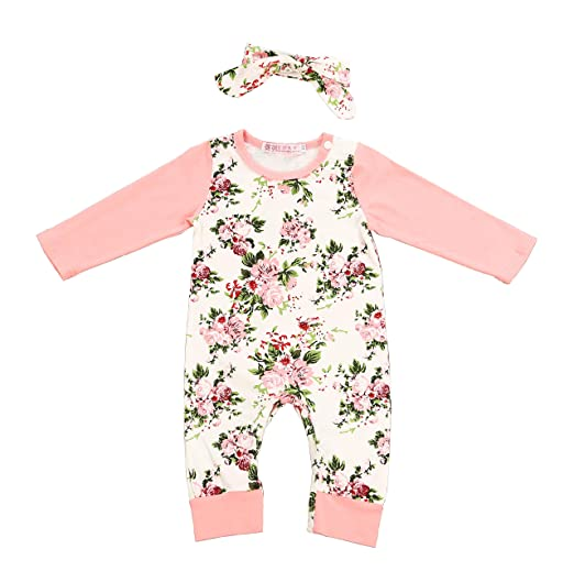 1b6fec4a2 Amazon.com  Newborn Baby Girl Clothes Floral Long Sleeve Footless ...