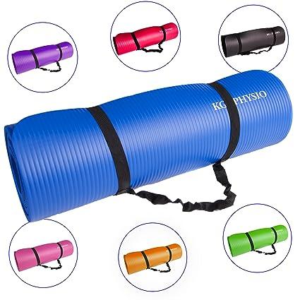 KG Physio Esterilla de Yoga Extra Grueso 12 mm - con Correa de Hombro Antideslizante para fácil Transporte - Fabricado con Material NBR Esencial para ...