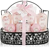 Spa Gift Basket with Heavenly Cherry Blossom Fragrance - Bath Set Includes Shower Gel, Bubble Bath, Bath Salts, Bath Bombs and more! Great Anniversary, Birthday, Wedding or Baby Shower Gift for Women