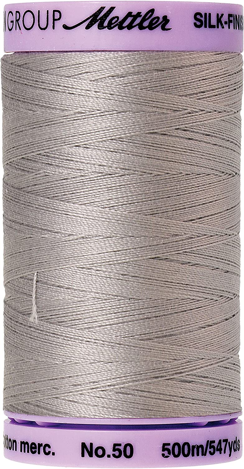 50 wt Sewing and Piecing Thread 500m547 Yards-Color 9104 0416 Dark Charcoal Large Spool Mettler Silk Finish 100/% Cotton No Thread